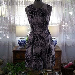 H&M Gray Floral Fit and Flare Pleated Dress